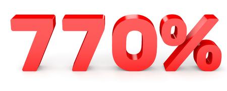 earn money: Seven hundred and seventy percent. 770 %. 3d illustration on white background.