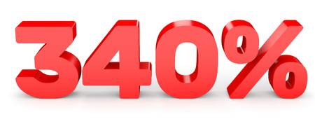 earn money: Three hundred and forty percent. 340 %. 3d illustration on white background.