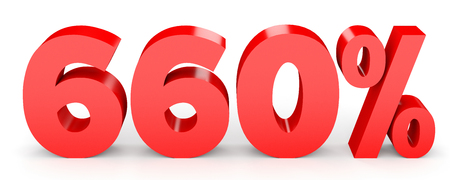Six hundred and sixty percent. 660 %. 3d illustration on white background. Stock Photo