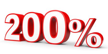 earn money: Two hundred percent. 200 %. 3d illustration on white background. Stock Photo