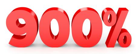 earn money: Nine hundred percent. 900 %. 3d illustration on white background.