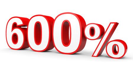 earn money: Six hundred percent. 600 %. 3d illustration on white background. Stock Photo