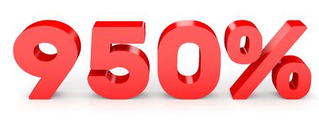 Nine hundred and fifty percent. 950 %. 3d illustration on white background.