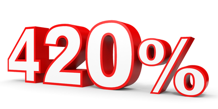 Four hundred and twenty percent. 420 %. 3d illustration on white background.