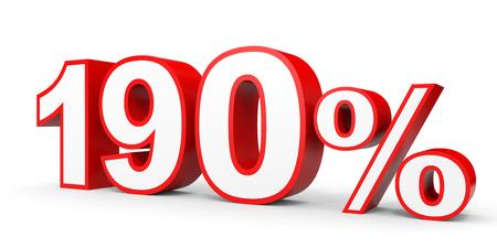 One hundred and ninety percent. 190 %. 3d illustration on white background. 版權商用圖片
