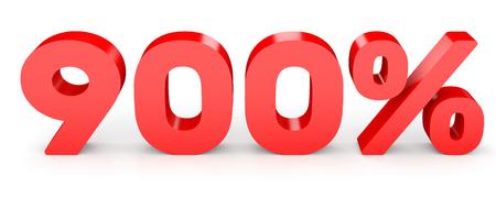 Nine hundred percent. 900 %. 3d illustration on white background.