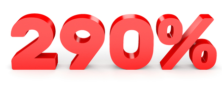 Two hundred and ninety percent. 290 %. 3d illustration on white background. 版權商用圖片