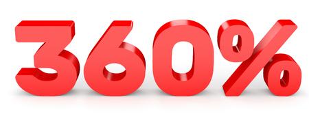 Three hundred and sixty percent. 360 %. 3d illustration on white background. 版權商用圖片