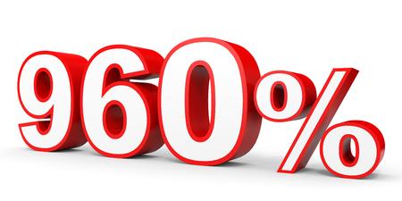 Nine hundred and sixty percent. 960 %. 3d illustration on white background.