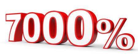 Seven thousand percent. 7000 %. 3d illustration on white background.