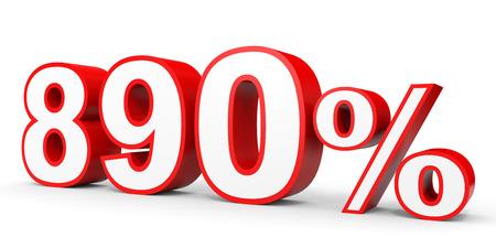 Eight hundred and ninety percent. 890 %. 3d illustration on white background.
