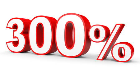 Three hundred percent. 300 %. 3d illustration on white background.