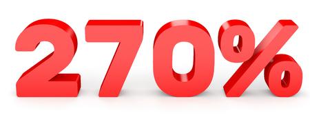 Two hundred and seventy percent. 270 %. 3d illustration on white background. 版權商用圖片