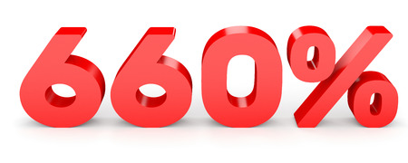 Six hundred and sixty percent. 660 %. 3d illustration on white background. 版權商用圖片