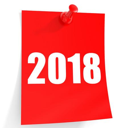 2018 New Year. Sticker.3D illustration.