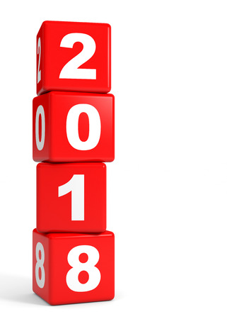 2018 New Year. Cubes. 3D illustration. Stock Photo