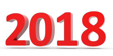 2018 New Year. Text. 3D illustration.