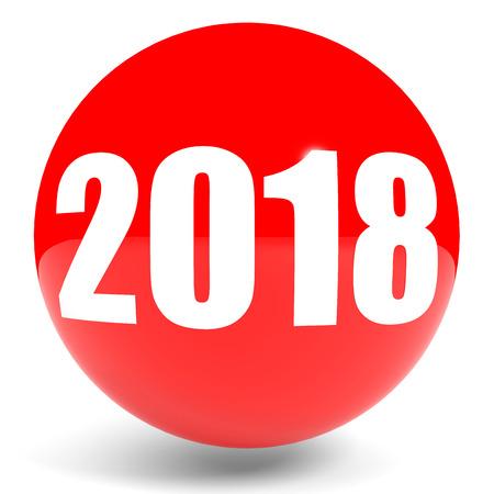 2018 New Year. Sphere. 3D illustration.