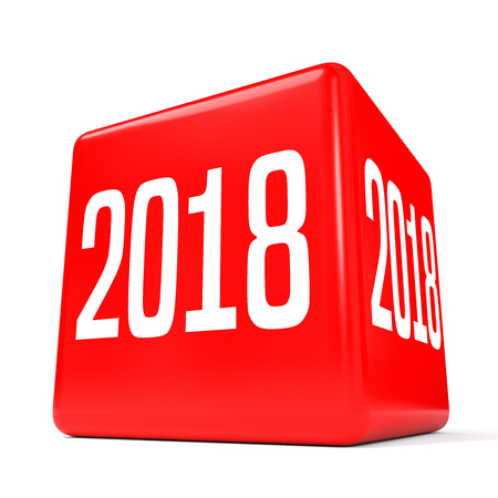2018 New Year. Cube. 3D illustration.