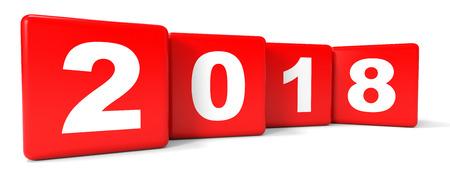 2018 New Year. Cubes. 3D illustration. 版權商用圖片