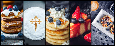 Collage of desserts with fruits, blueberry, raspberries, cakes, pancakes and coffee