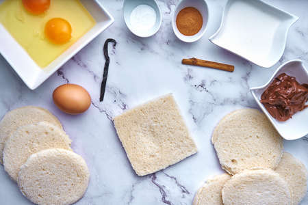 Making chocolate cake with sandwich bread. Food concept. Dessert. Step 1 Stock Photo