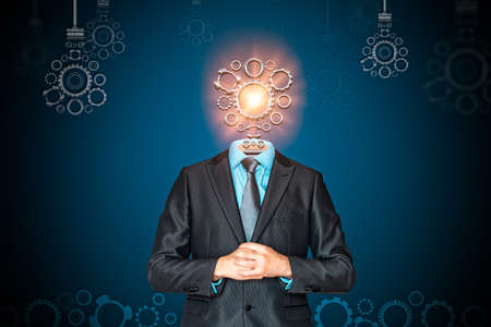 Have a good idea. Businessman with a lightbulb per head. Business and finance concept