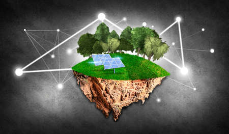 Island with trees, grass and solar panels as renewable energy
