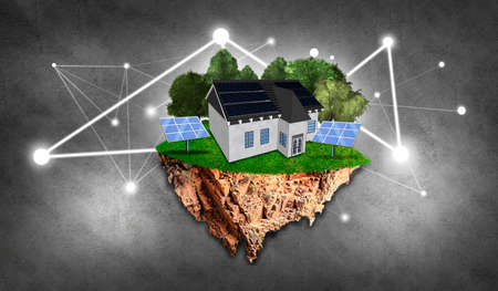 Island with house with solar panels and trees, grass as renewable energy