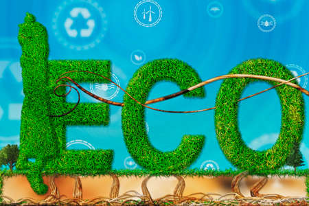 Eco-girl figure with branches and grass with renewable energy symbol. Environmental biodiversity in ecosystem concept. Backdrop as a concept of energy efficiency. Concept of renewable energies