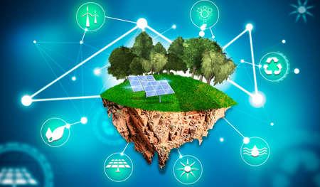 Island with trees, grass, solar panels and symbols as renewable energy Фото со стока
