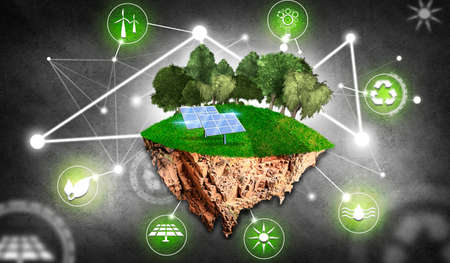 Island with trees, grass, solar panels and symbols on background blue as renewable energy. Concept of renewable energies
