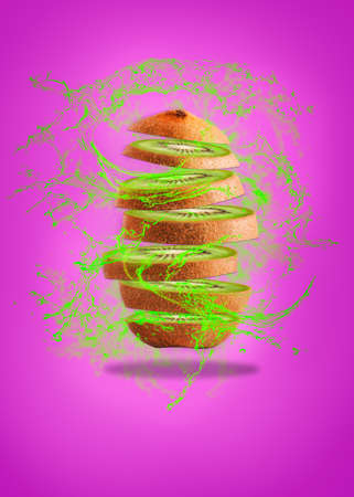 Kiwi levitation on a purple background. High resolution image. Health concept and healthy food on levitation