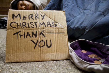 tramp: Homeless Man at Christmas