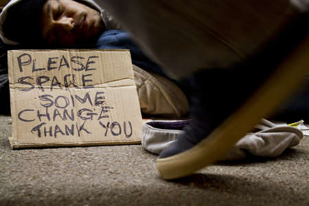 begging: Homeless Man Sleeping Rough