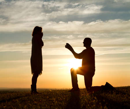 proposals: Sunset Marriage Proposal Stock Photo