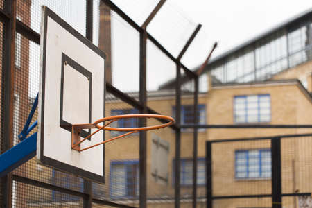 housing project: Basketball hoop on a council estate or housing project Stock Photo