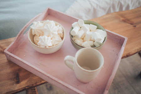 Sweet pink marshmallow - zephyr and cup of Coffee. Romance. Provencal still life. Good morning,Provence Stock Photo