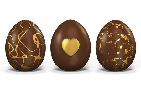 3 Easter eggs made of chocolate Stock Photo