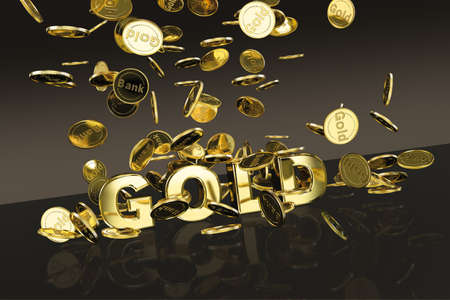 Gold coins falling onto a gold title