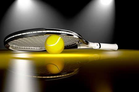raqueta de tenis: Raqueta de tenis en 3D con la pelota de tenis Foto de archivo
