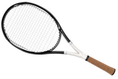 raqueta de tenis: Raqueta de tenis blanco y negro aislado en el fondo blanco