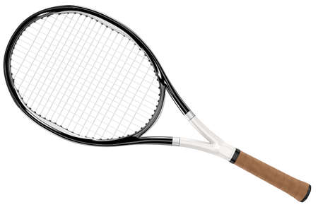 tennis racket: Tennis racket black and white isolated on white background