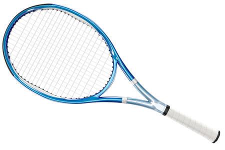 raqueta de tenis: Azul raqueta de tenis aislada en el fondo blanco