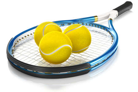 rackets: High detailed 3D tennis racket isolated on white reflective background with 3 tennis balls