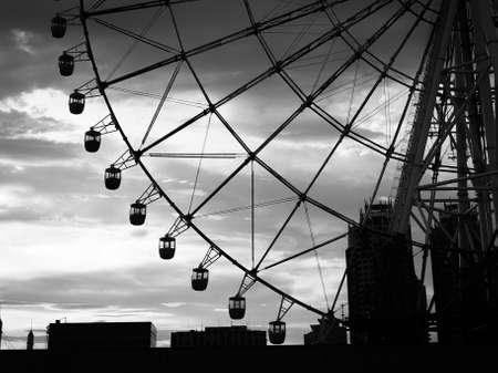 acrophobia: close up of Ferris wheel at Odaiba, Tokyo