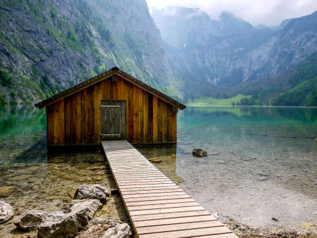 Boathouse at Obersee, Berchtesgaden, Germany Stock Photo - 21599485