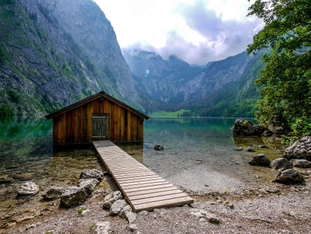 berchtesgaden: Boathouse at Obersee, Berchtesgaden, Germany