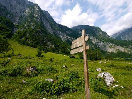 berchtesgaden: Wooden direction sign at Berchtesgaden national park, Germany