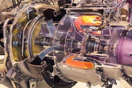 섹션의 가스 터빈 엔진 평면 모델 스톡 콘텐츠